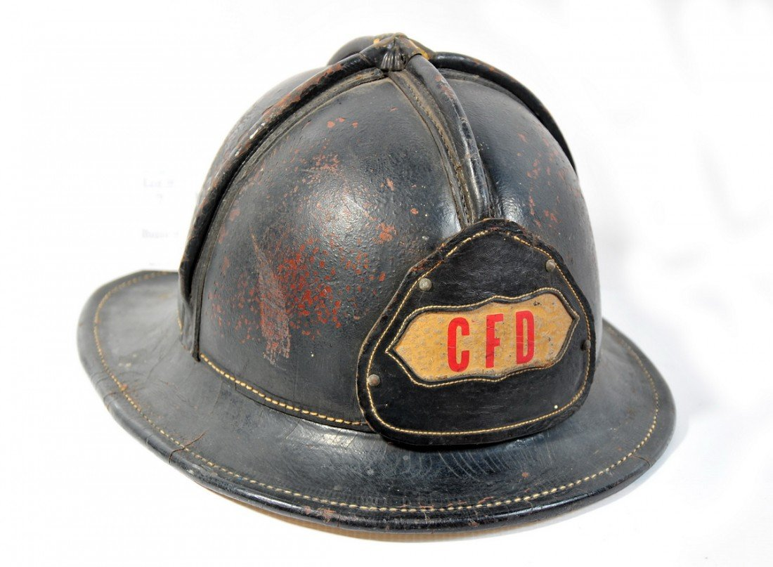 7: Jockey Style leather fire helmet Cumberland Maine fi