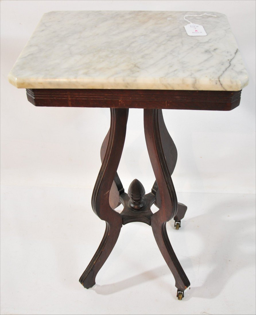 "7A: Walnut Marble Top Stand; 30"" height, top dimension"