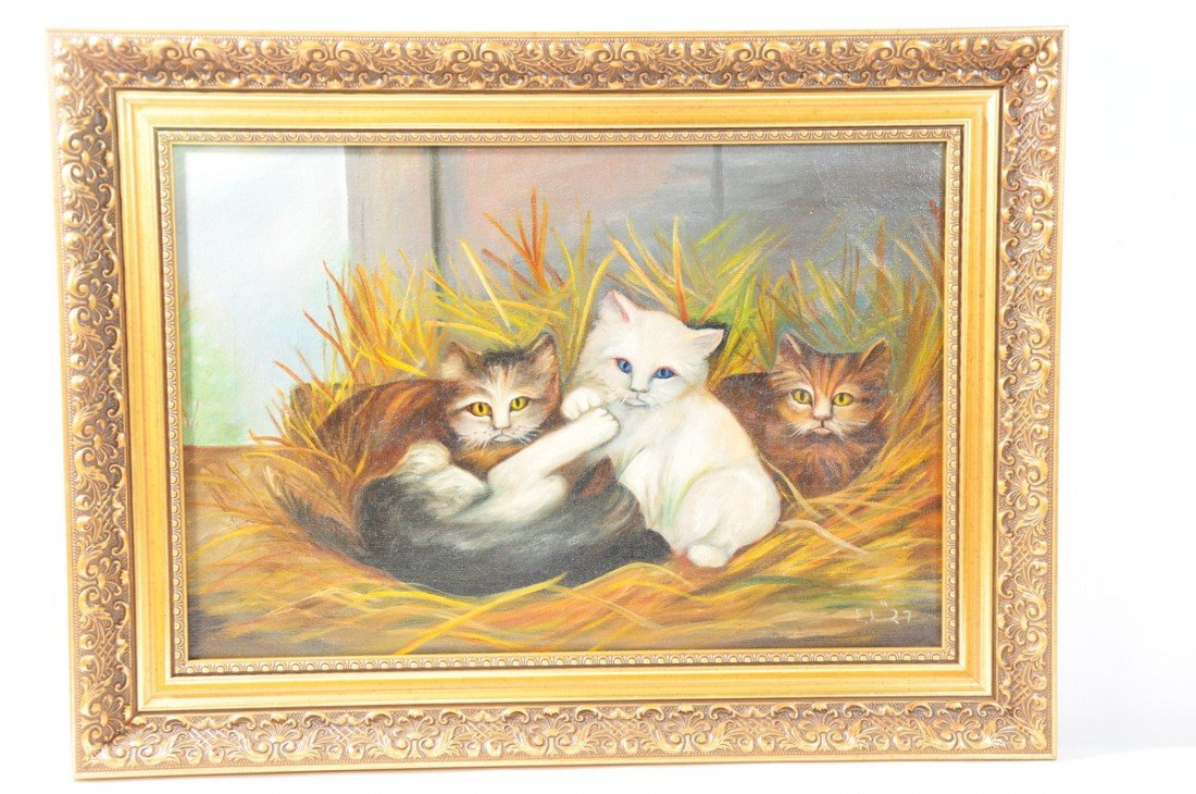 8: Wonderful painting OOC of three kittens in ornate fr