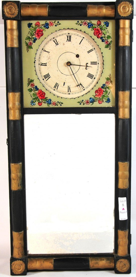 8A: Rare  New Hampshire Mirror Clock, just cleaned and