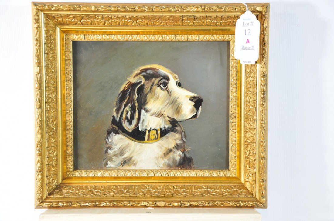 12A: OOB Painting of dog with collar and intricate gold