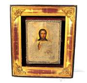 20 1886 Russian Icon Christ Pantocrator silver oclad