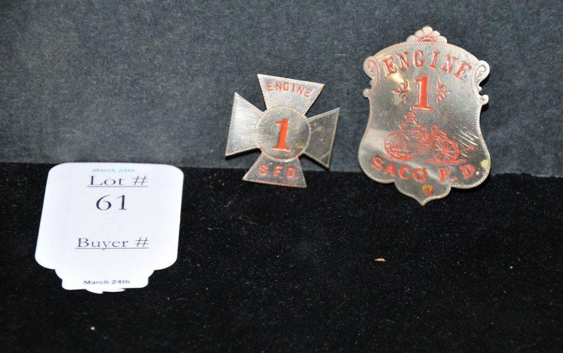 61: Pair of Antique Saco Maine fire department badges