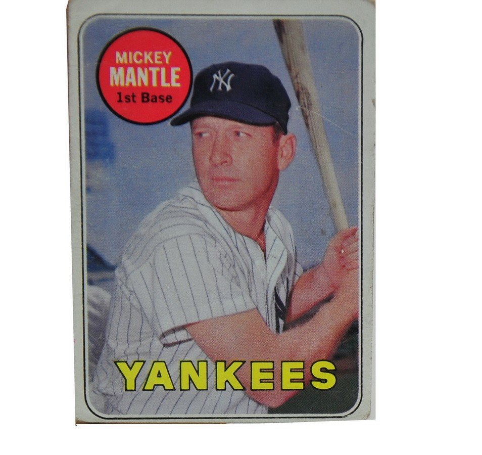 12: Scarce 1969 Mickey Mantle error card with white let