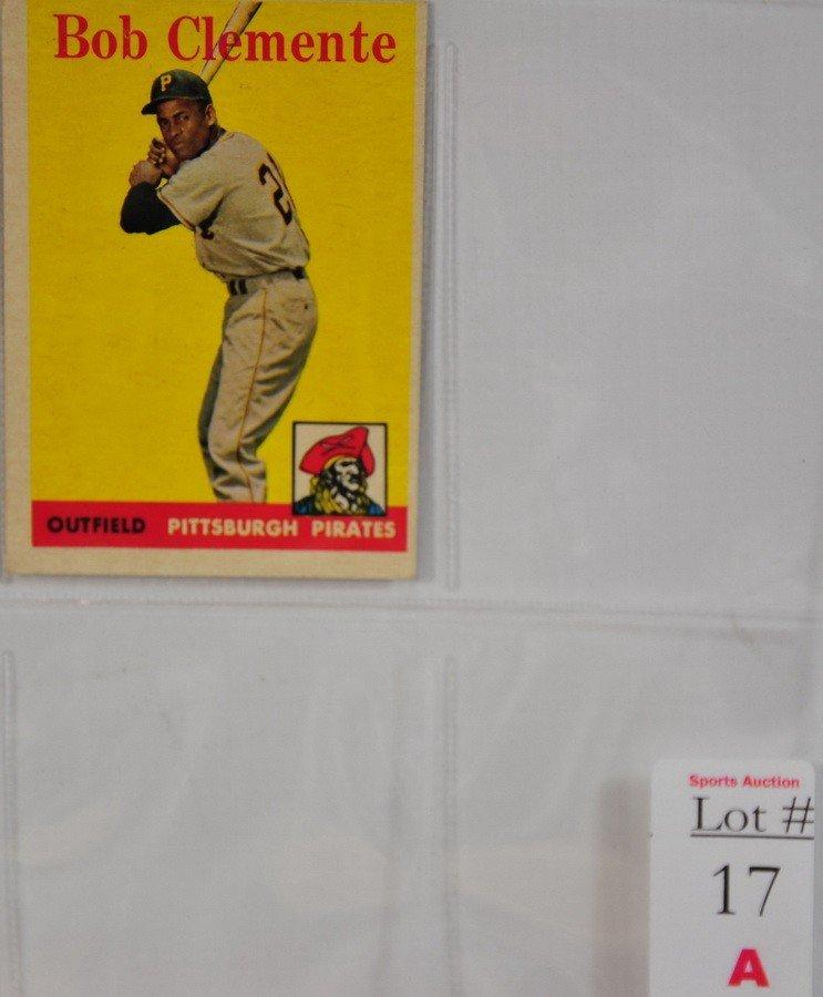 17A: 1958 Topps Roberto Clemente card off center decent