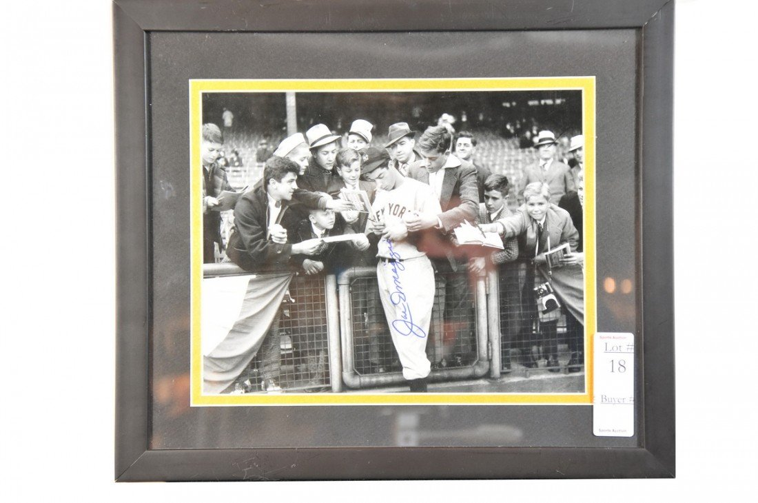 18: Framed and Autographed Joe Dimaggio 8x10 with certi