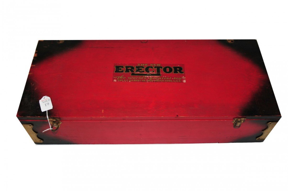 19: Erector set on wooden box with all parts including