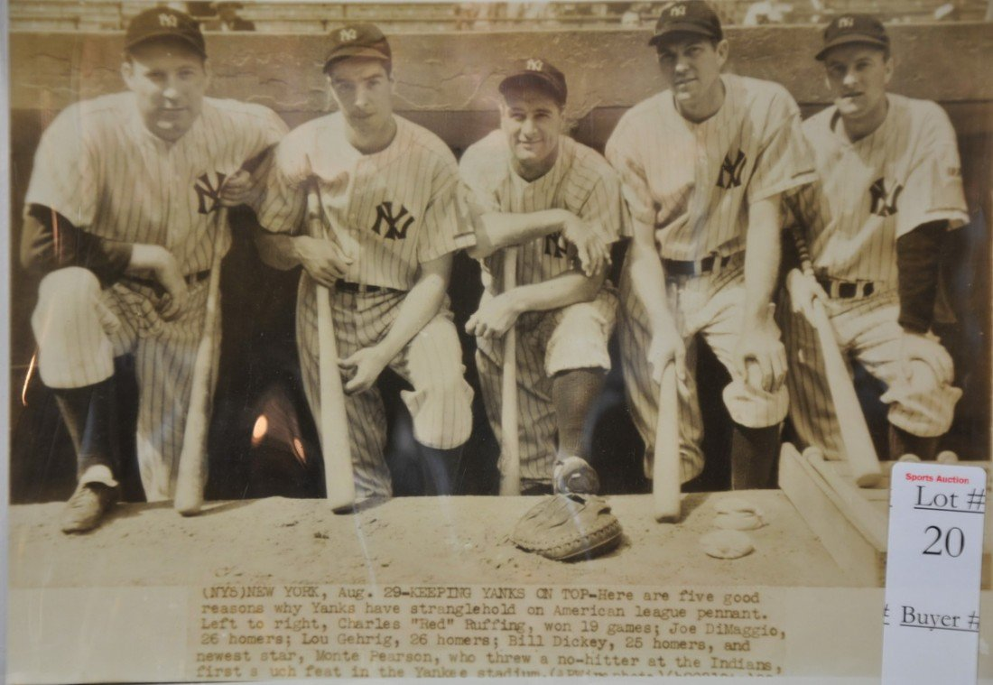 20: Original 1940's Yankees wire photo DiMaggio Gehrig