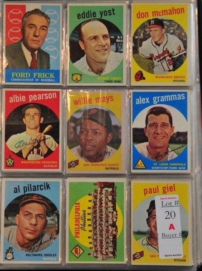 20A: Binder of 258 1959 Topps baseball cards