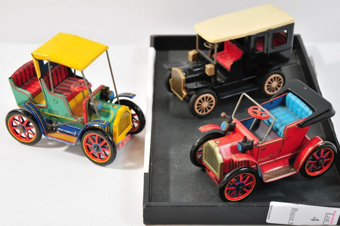 4: 3 Vintage Japanese friction cars replicating early 2