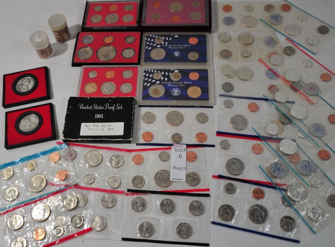 6: Coin lot with proof sets, Unc Sets, UNC clad half do