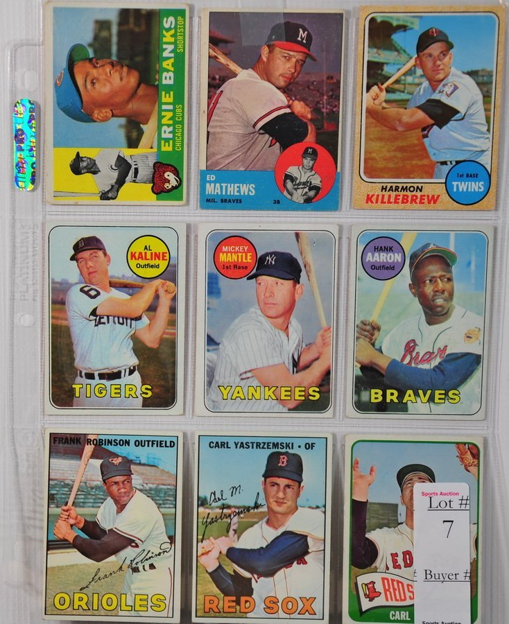 7: 9 1960's Stars cards, Hank Aaron, Ernie Banks, Ed Ma
