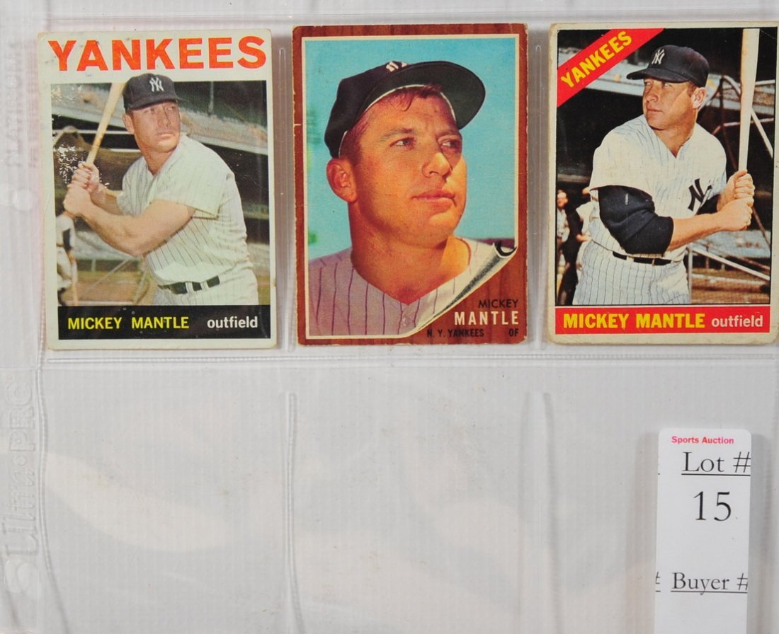15: 1962,1964 and 1966 Topps Mickey Mantle cards