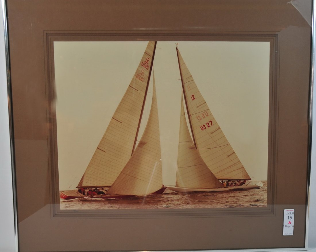 """15A: Americas Cup 1977 Print Signed on Rear """"The Duel"""""""