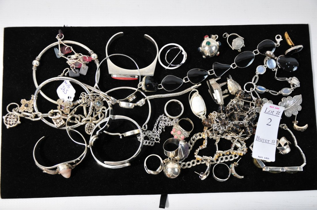 2: Sterling silver jewelry lot with rings and bangles 1