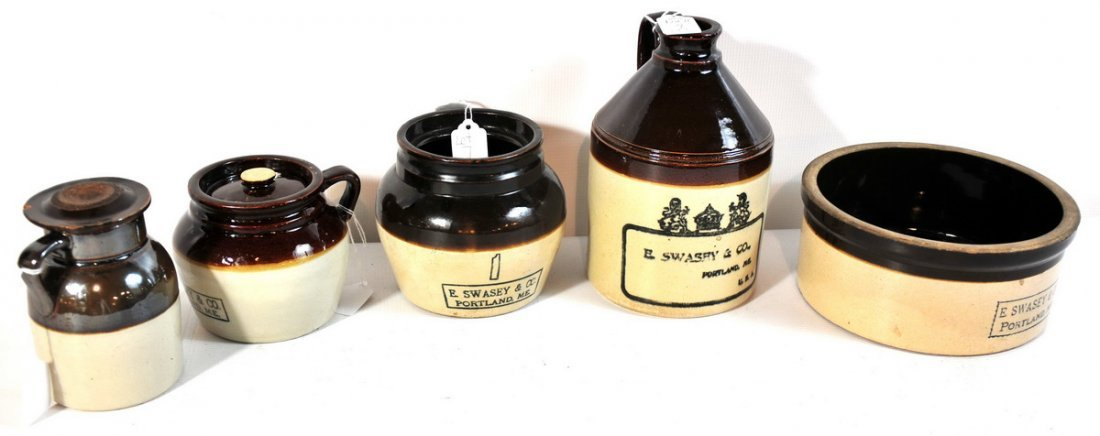 7: Collection of 8 Pieces of E. Swasey stoneware crocks