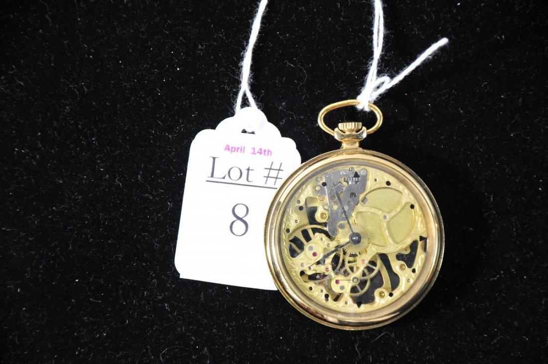 8: Fine Swiss Skeletonized 19 Jewel Pocket watch in run