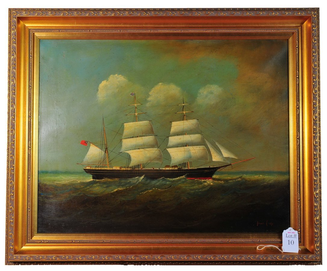 """10: Oil on Canvas 17x14 framed  """"ship in a storm"""" signe"""