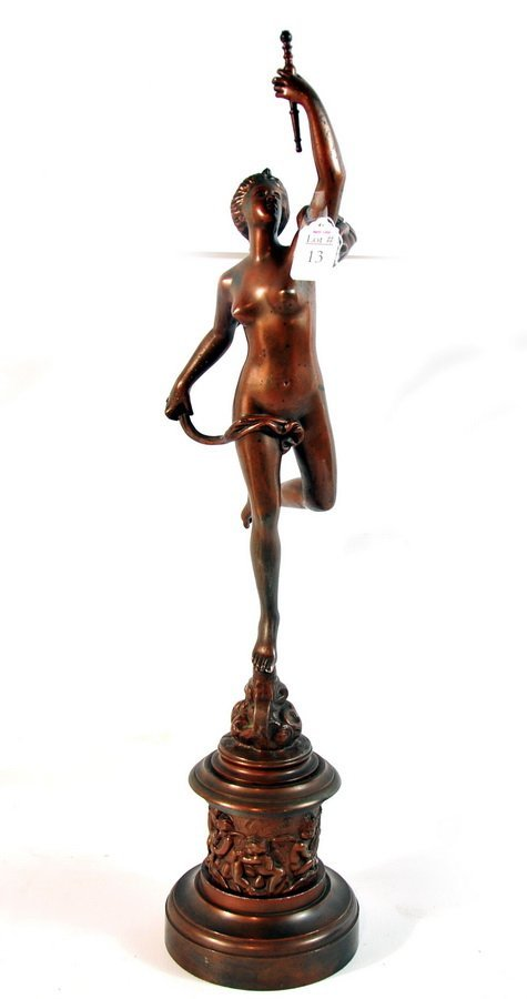 """13: 26"""" base metal statue with brushed copper look depi"""