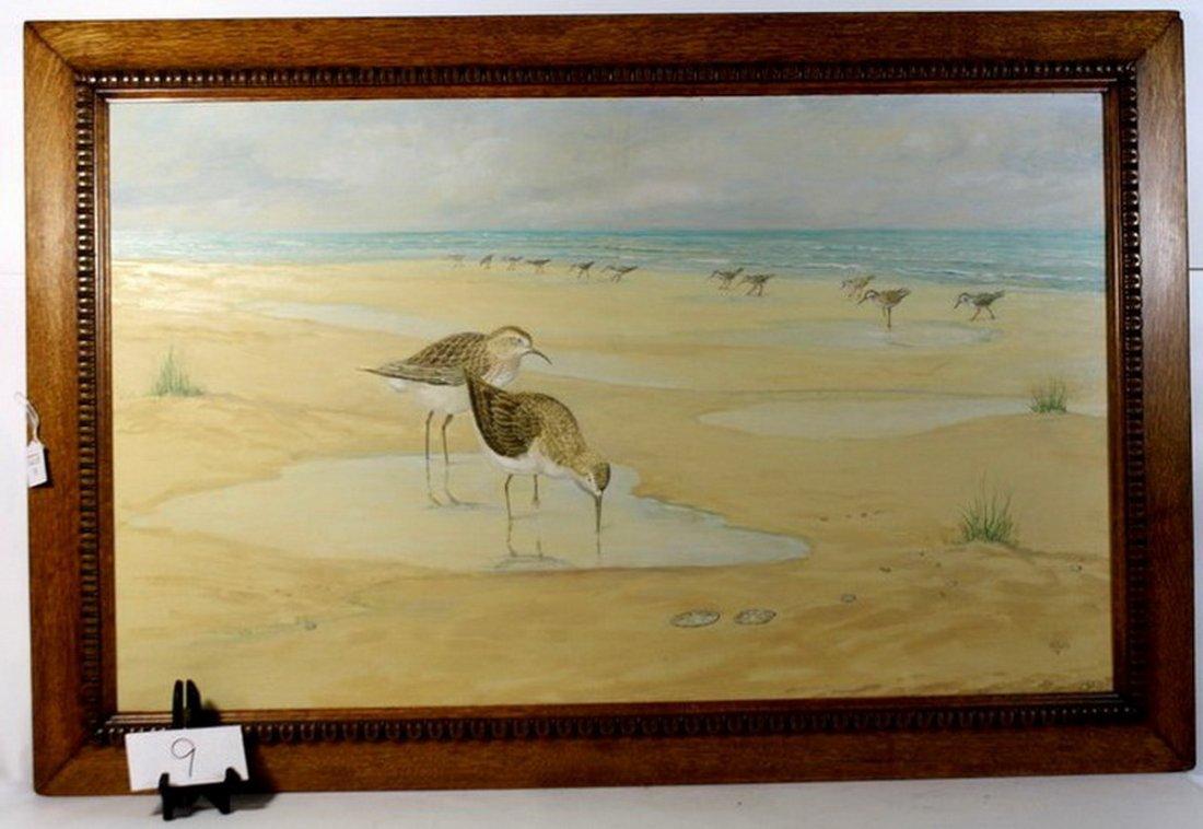 19: OOC 27x24 Depicting shore birds in oak frame