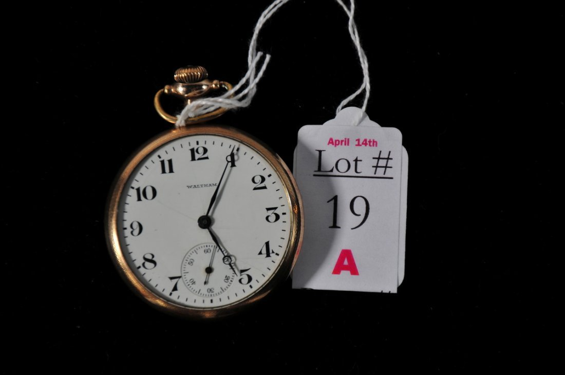 19A: Waltham 16 size 7 jewel pocket watch in 20 Year Go
