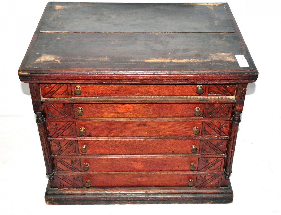 20: Clarks 6 drawer Spool Cabinet 24x22x19 with inlaid