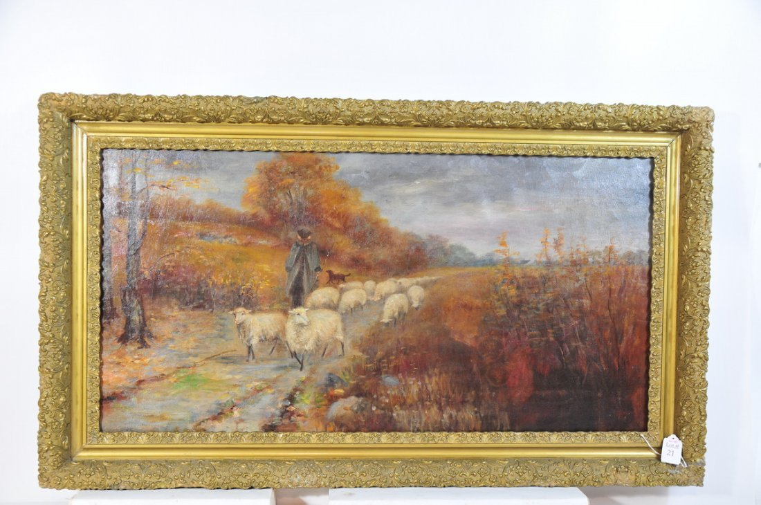 21: OOC 33x17 depicting sheep herder unsigned in gold f