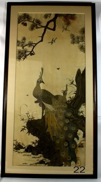 22: 19th Century Lg Silk Embroidery of Peacock Framed 5
