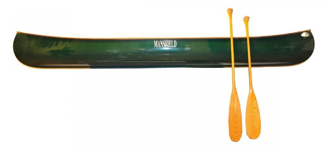 "26: Stow ""Mansfield"" 13' Green Canoe 40""W 2 seater w/ 2"