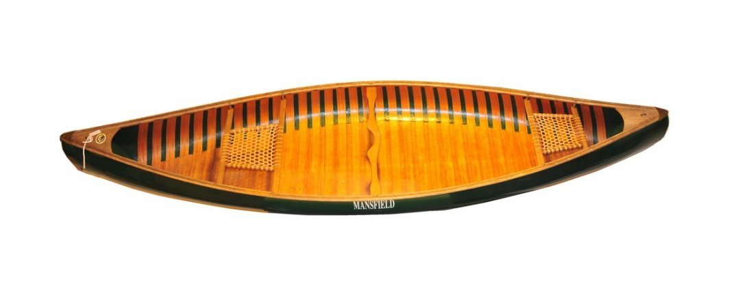 "26: Stow ""Mansfield"" 13' Green Canoe 40""W 2 seater w/ 2 - 2"