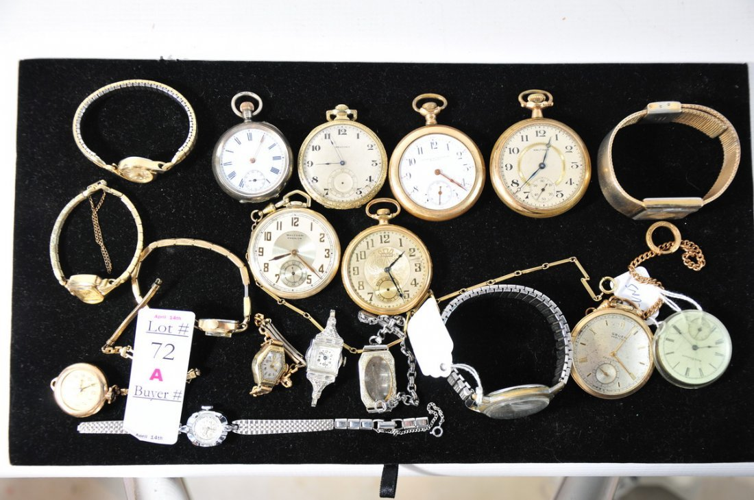 72A: Group of pocket watches and ladies wrist watches
