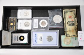Coin Lot With Graded Coins And Commemoratives