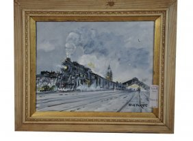 Framed Watercolor Of Rail Train Scene By Bill Paxto