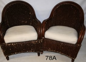 Pair Of Brown Rattan Patio Chairs With Cushions