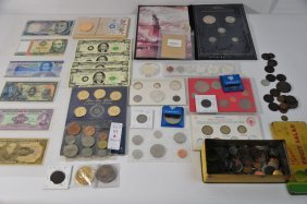 Foreign Coin And Paper Money Lot
