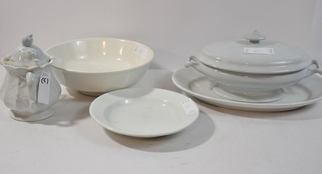 89A: 5pc Lot of Old Ironstone Including: Platter, Cover