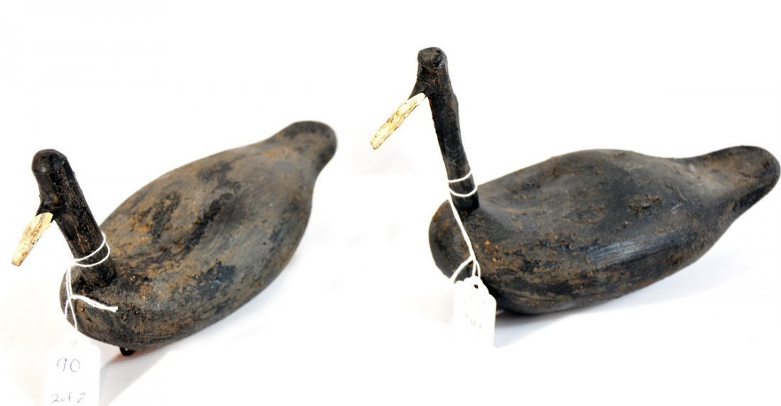 90: Pair of Root Head Coot Decoys