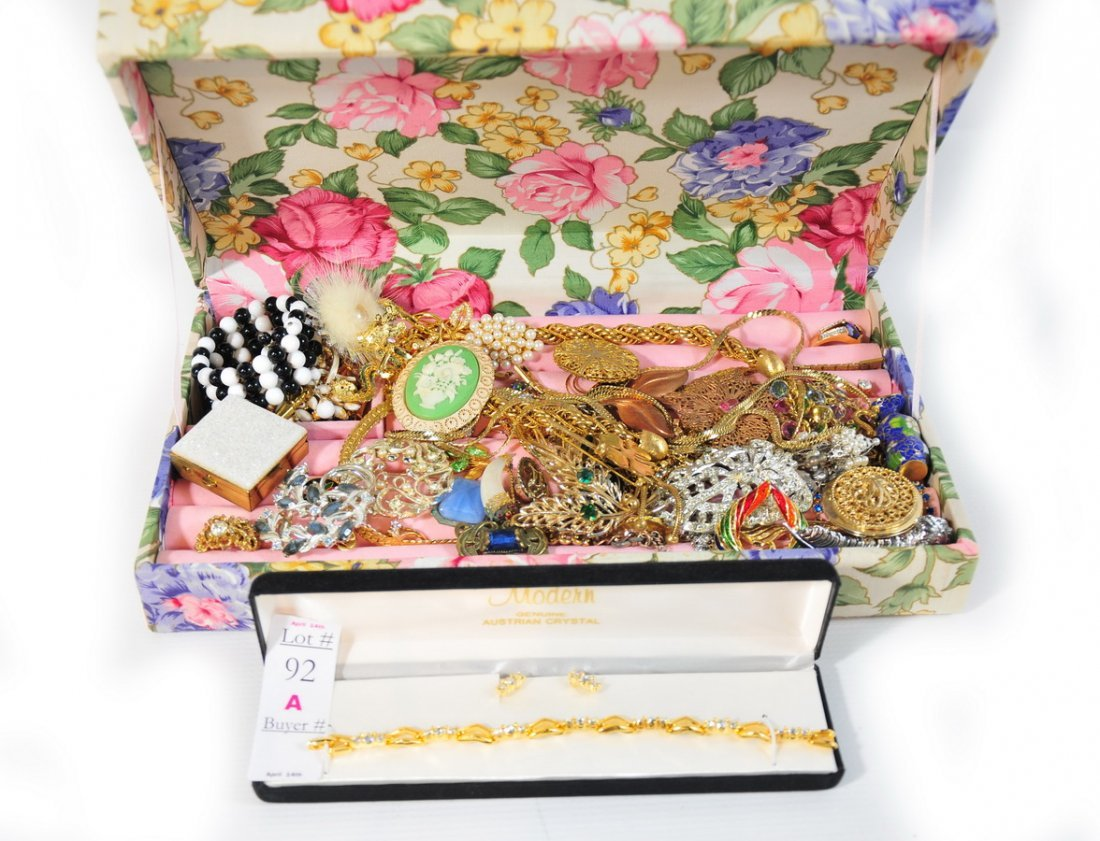 """92A: Collection of Costume Jewelry in a 12"""" Floral Case"""