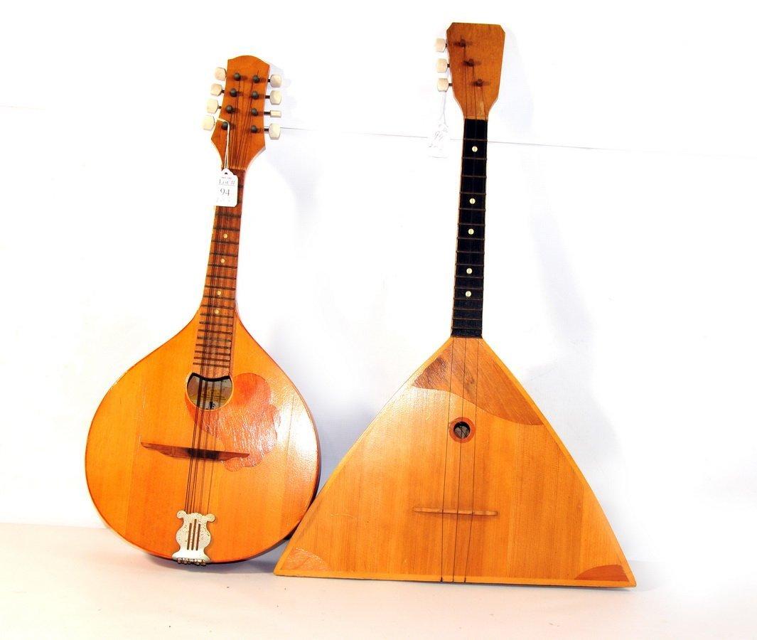 """94: 2 Russian Wooden Instruments. 25"""" Balalaika and 24"""""""