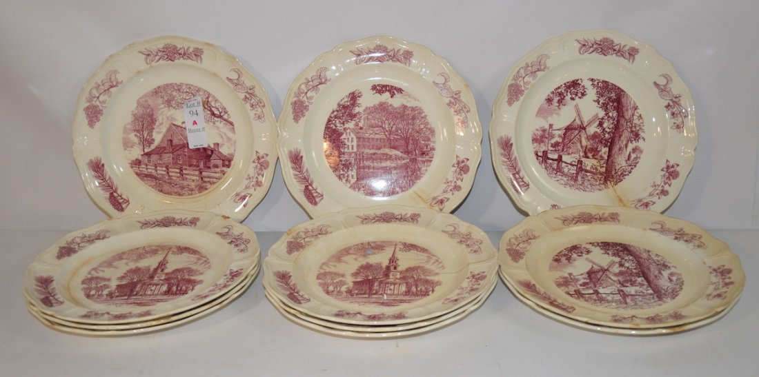 94A: 11 Wedgewood Dinner Plates with Scenes and facts o