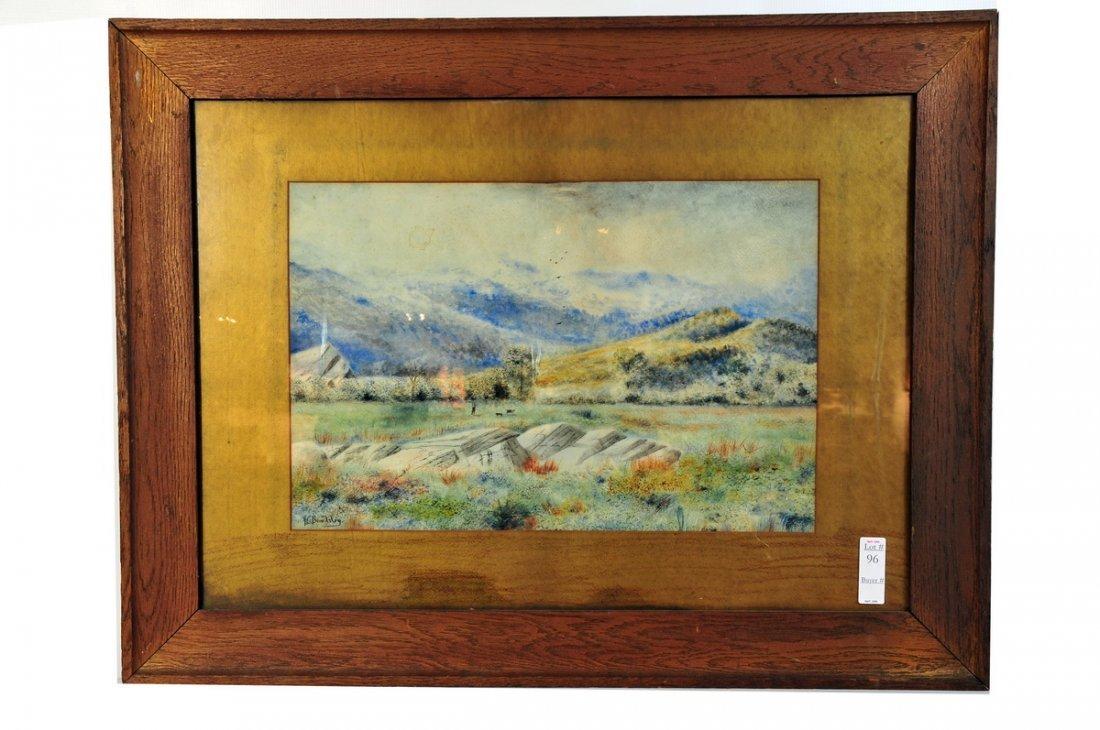 96: Watercolor landscape 21x13 signed FL Beardsley
