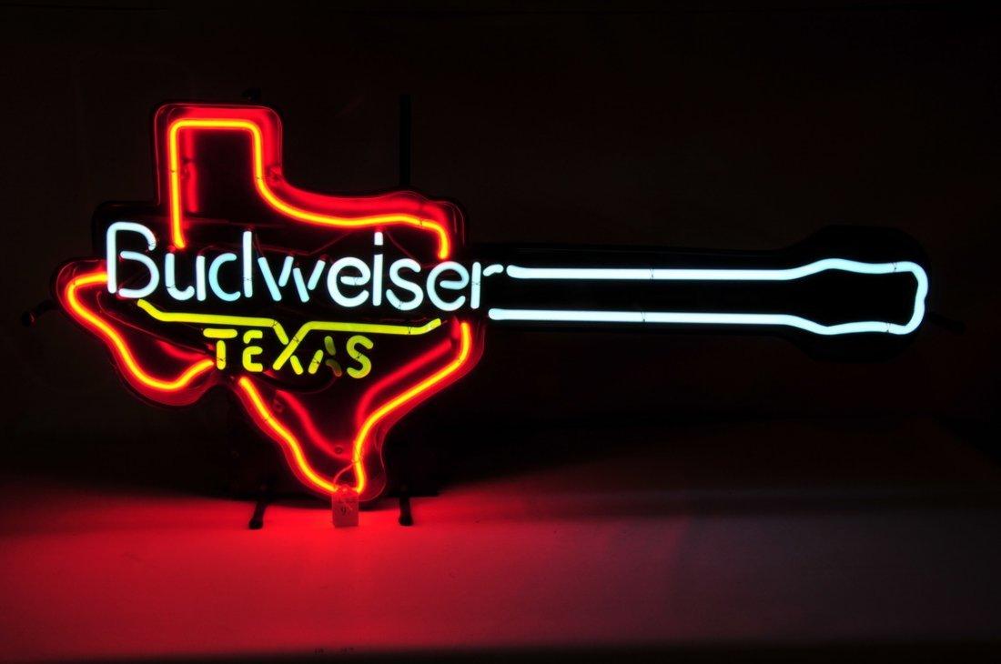 97: Budweiser Texas Guitar shaped Neon Light