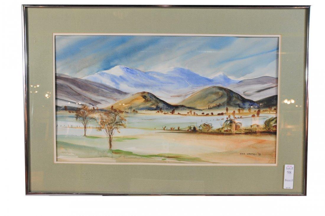98: Watercolor 24x14 signed Nan White