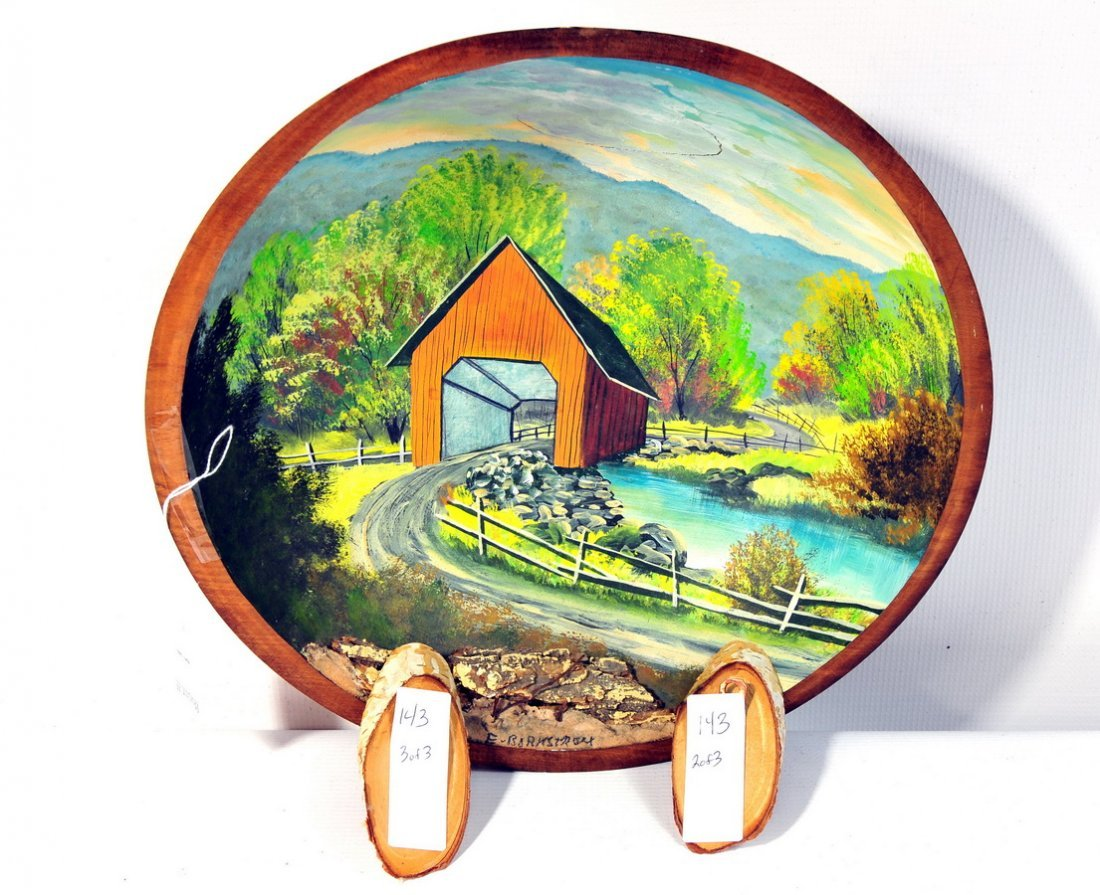 143: Hand-Painted Bowl and 2 Hand-Painted Birds on Birc