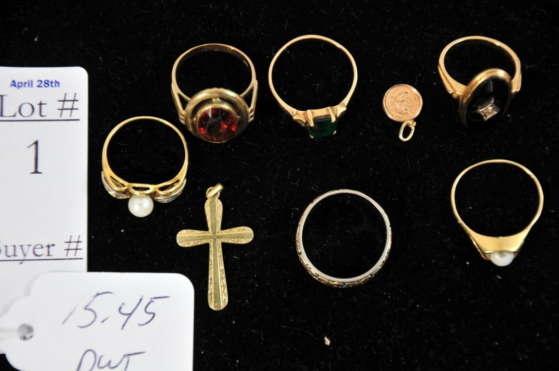 1: 15.45 DWT of 14kt. rings with 1 small 9kt. ring, all