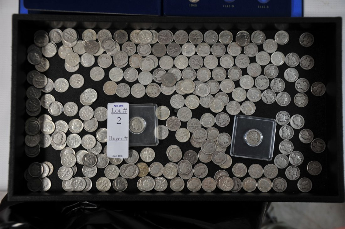 2: silver dimes $23.80 in face value to include  $4.20