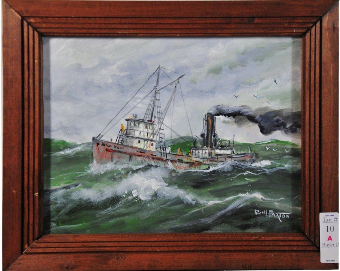 10A: Bill Paxton 10 1/2 x 13 1/2 Poagie Boat Scene 1986