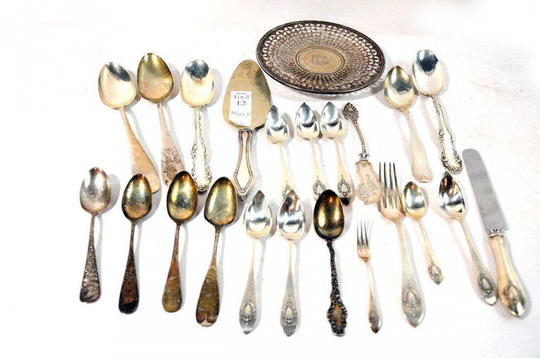 12: 21 Troy Ounces of sterling and coin silver flatware