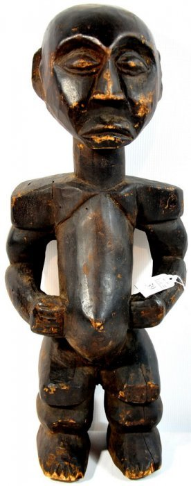 """20"""" Wooden Tribal Art Figure With Rich Brown Patina"""