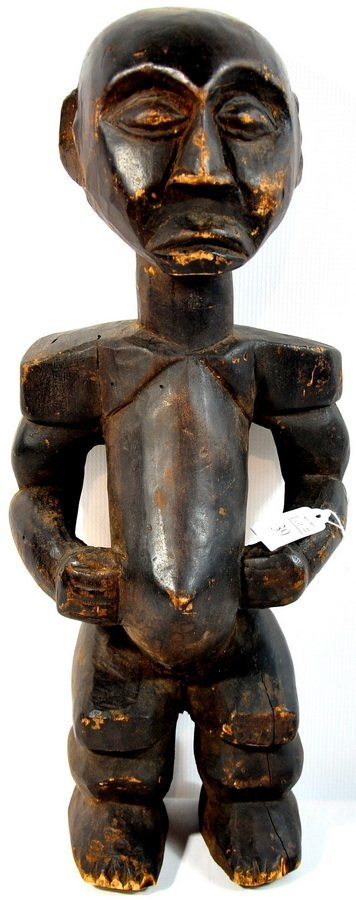 """39: 20"""" Wooden Tribal Art Figure with Rich Brown Patina"""